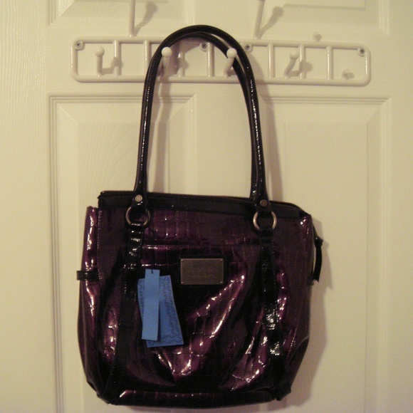 5f60685b8f1a Vera Wang Times Square Purple Faux Snakeskin Bag